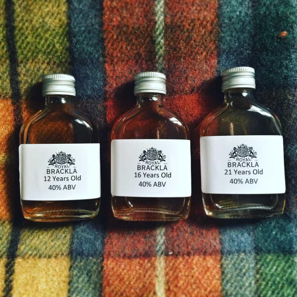 Royal Brackla whisky samples