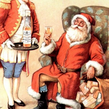 Santa drinking whisky
