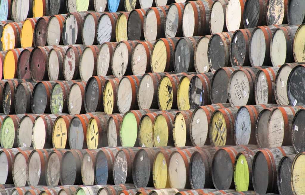 Whisky casks stacked up