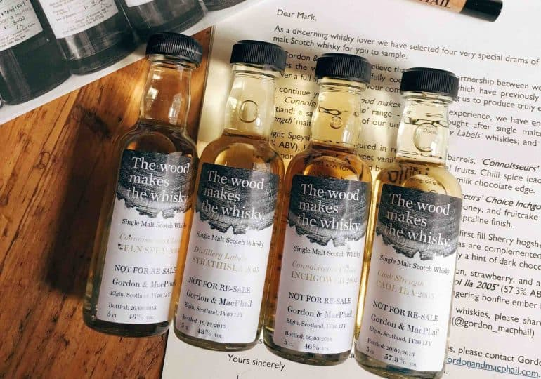 Four samples of Gordon and Macphail whiskies