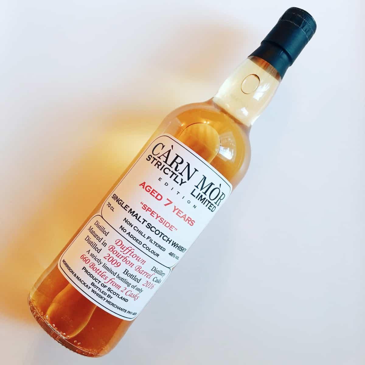 A bottle of Carn Mor Dufftown whisky