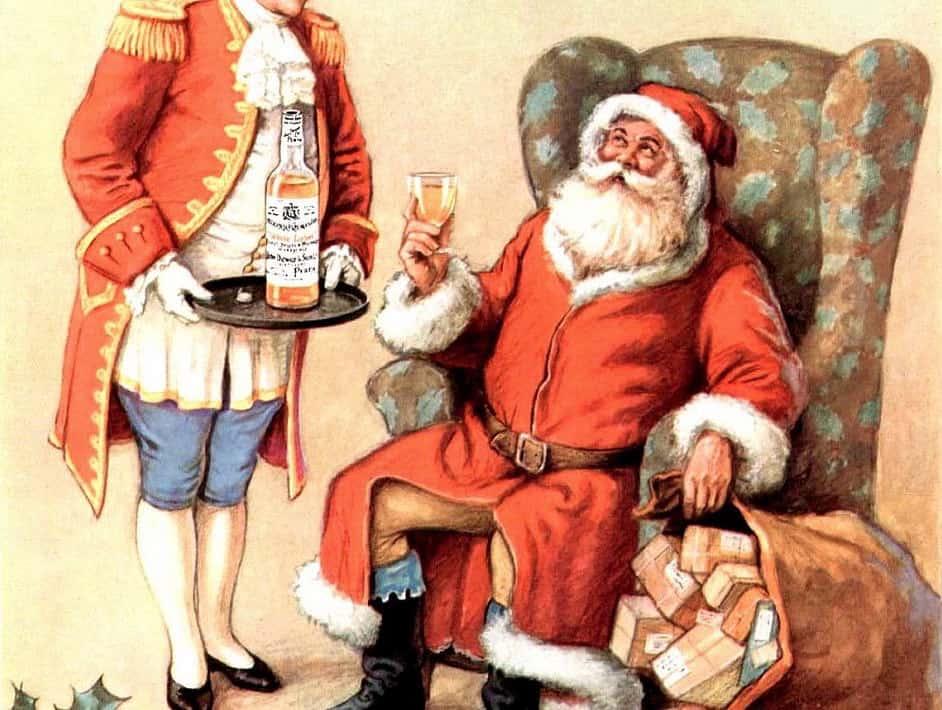 Santa drinking whisky