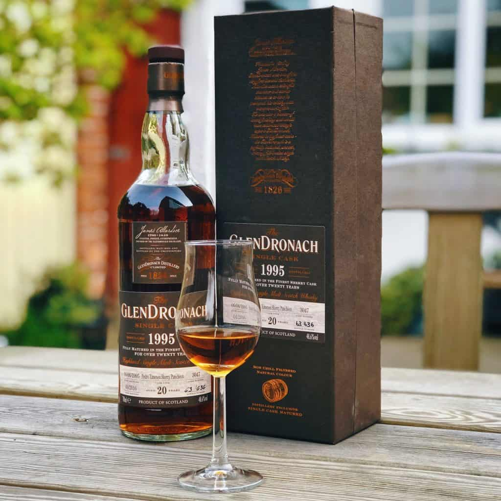 Glendronach single cask bottle on table