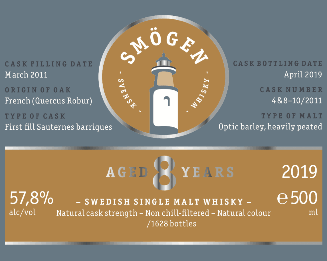 Smogen 8 years whisky label